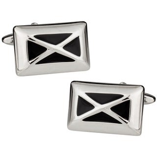 Cuff Daddy Silvertone Black 'X' Cuff Links