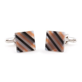 Cuff Daddy Silvertone Semi Transparent Glass Cuff Links