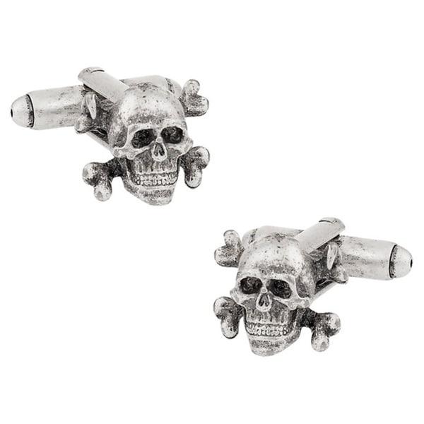 Cuff Daddy Silvertone Skull and Crossbones Cuff Links
