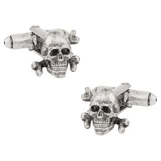 Cuff Daddy Silvertone Skull and Crossbones Cuff Links