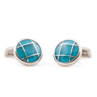 Cuff Daddy Stainless Steel Blue Glass Cuff Links