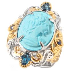 Michael Valitutti Two-tone Turquoise Cameo and London Blue Topaz Ring