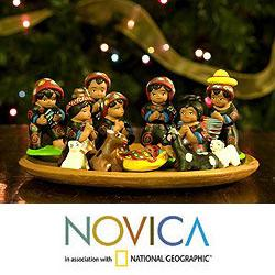 Handmade Set of 13 Ceramic 'Totonicapan' Nativity Scene (Guatemala)
