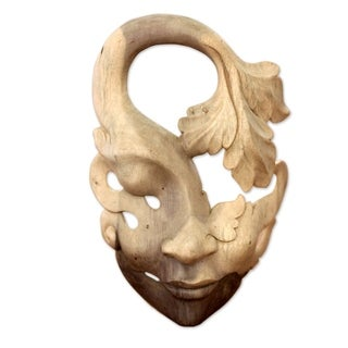 Shy Maiden Cream Ivory Beige Feminine Global Style Decorator Accent Suar Wood Wall Art Work Mask (Indonesia)