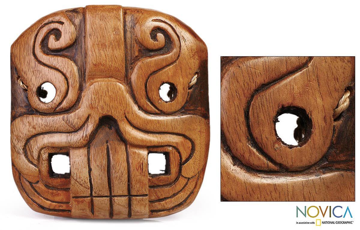 Handmade Cedar Wood 'Jaguar Riches' Mask (El Salvador)