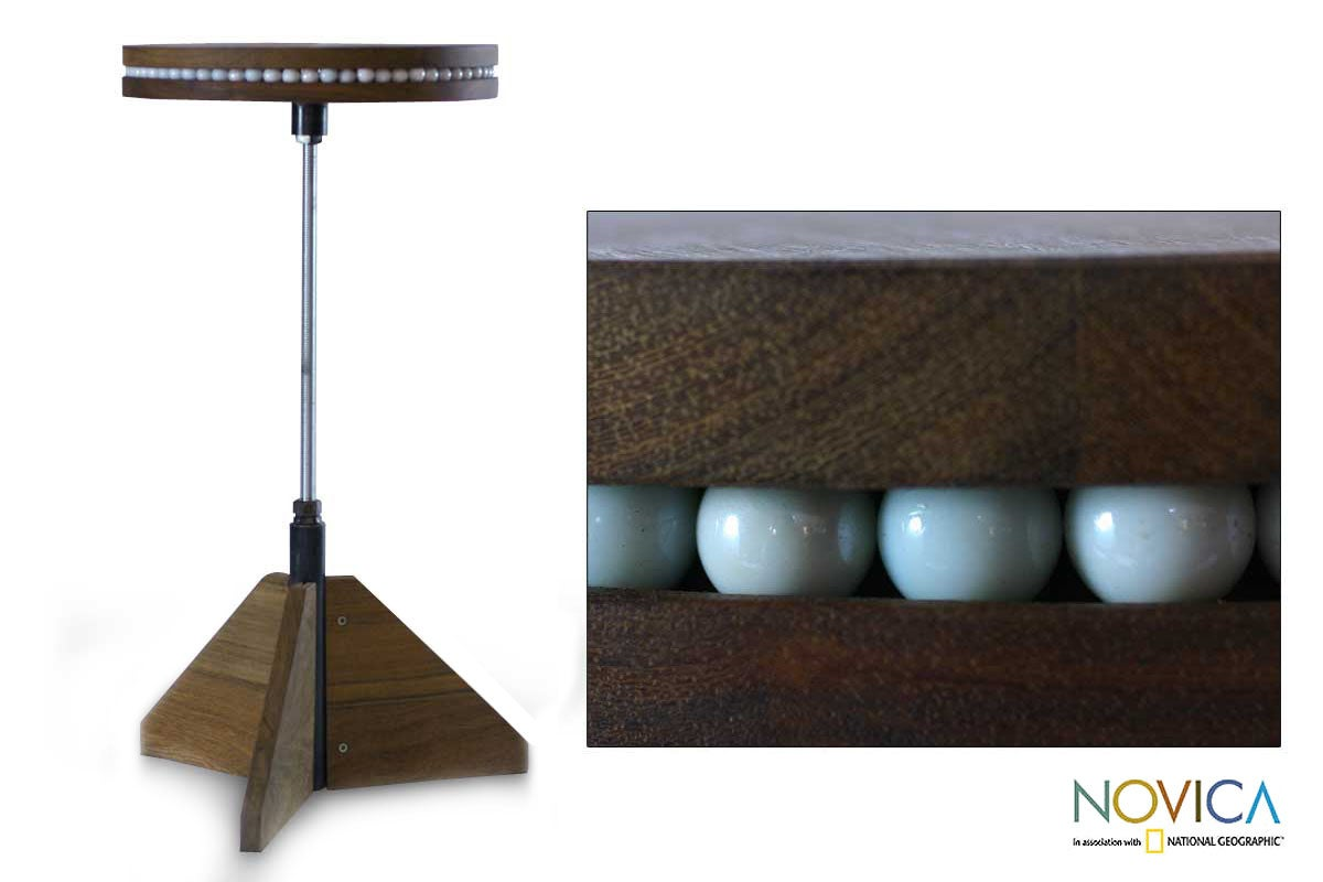 Handmade Machinche Wood 'New Cycles' Rotating End Table (Guatemala)