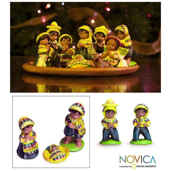 Handmade Set of 13 Ceramic 'San Juan Nativity' Nativity Scene (Guatemala)