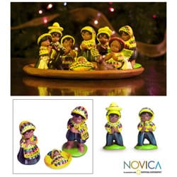 Set of 13 Ceramic 'San Juan Nativity' Nativity Scene (Guatemala)