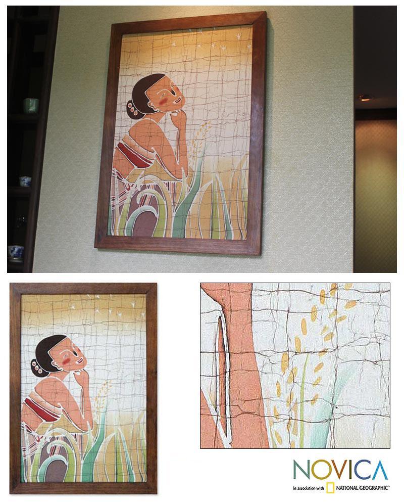 Handmade Cholprasertsuk 'Quiet Moment' Batik Print Art (Thailand)