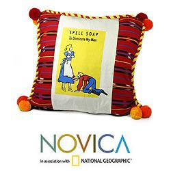 Handmade Cotton 'Spell Soap' Cushion Cover (Guatemala)