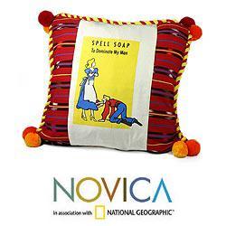 Handmade Cotton 'Spell Soap' Cushion Cover (Guatemala)