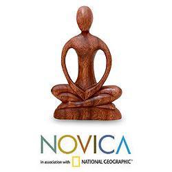 Handmade Suar Wood 'Meditative Calm' Sculpture (Indonesia)