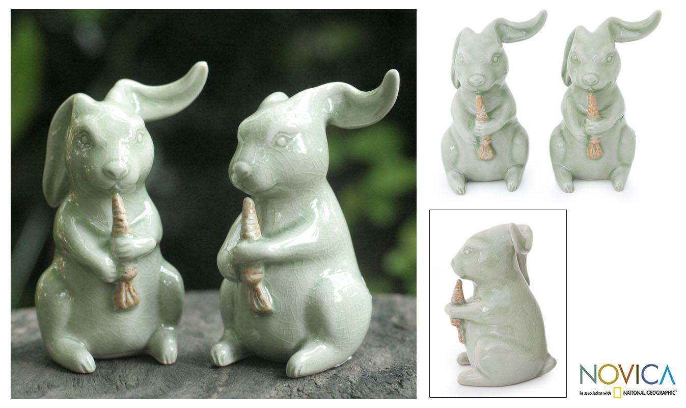 Handmade Set of 2 Celadon Ceramic 'Bunnies' Sculptures (Thailand)