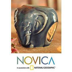 Celadon Ceramic 'Calm Sapphire Elephant' Oil Burner , Handmade in Thailand