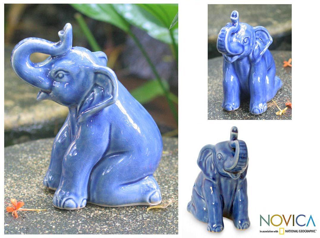 Celadon Ceramic 'Blue Elephant Welcome' Sculpture (Thailand)