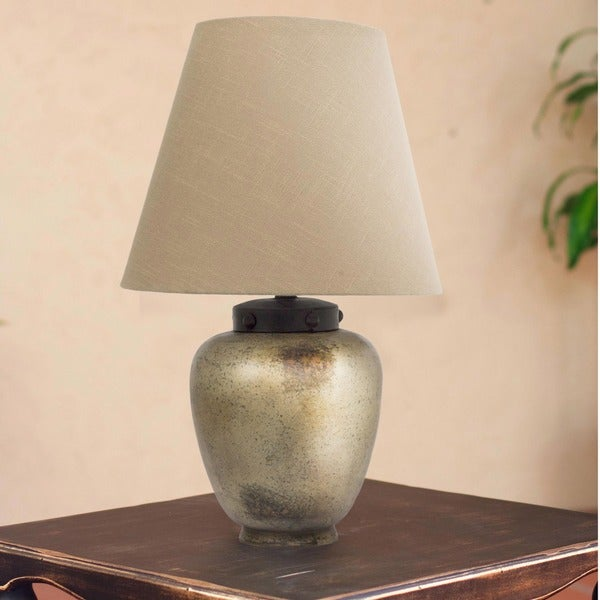 Sands of Light Burnished Ceramic with Forged Iron and Jute Shade Aged Weathered Antique Look Decor Accent Table Lamp (Mexico)