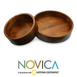 Set of 2 Handcrafted Wood 'Maya Circle' Centerpieces (Guatemala)