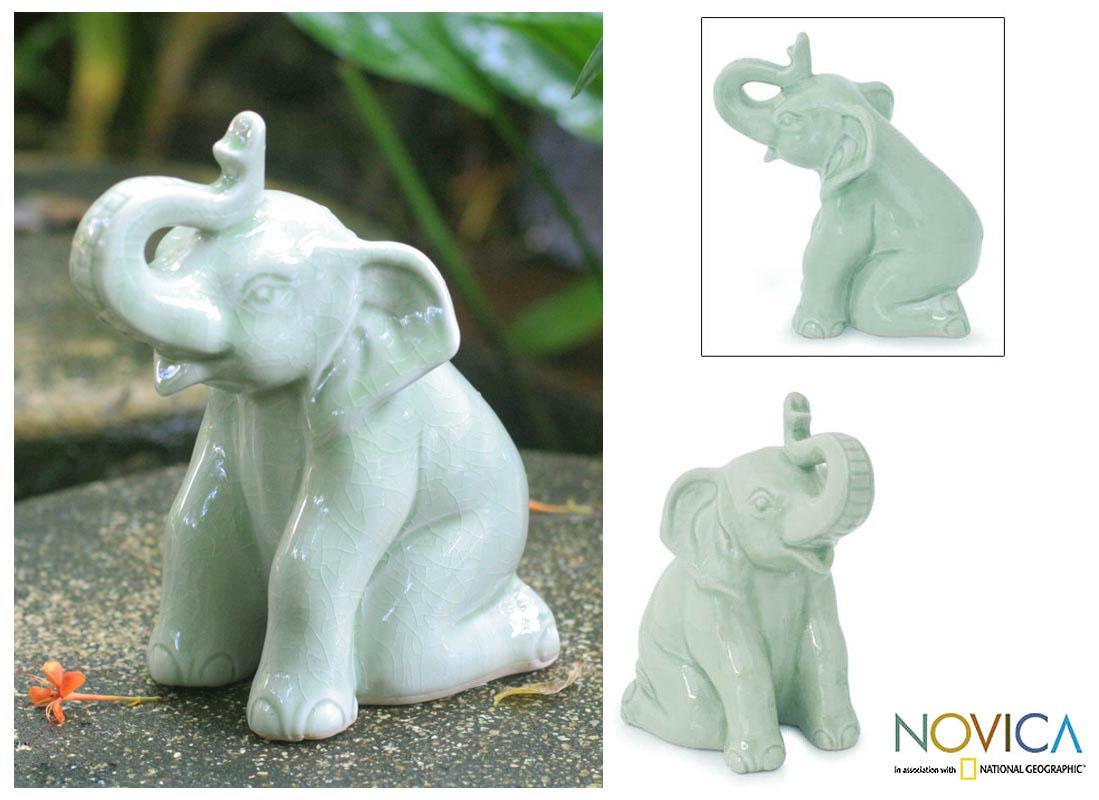 Celadon Ceramic 'Green Elephant Welcome' Sculpture   , Handmade in Thailand
