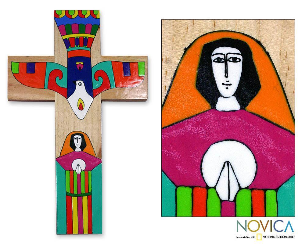 Handcrafted 'Holy Spirit' Pinewood Cross (El Salvador)