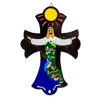Handmade Pinewood 'Caring for You' Cross (El Salvador) - Blue/Brown/Green/White/Yellow
