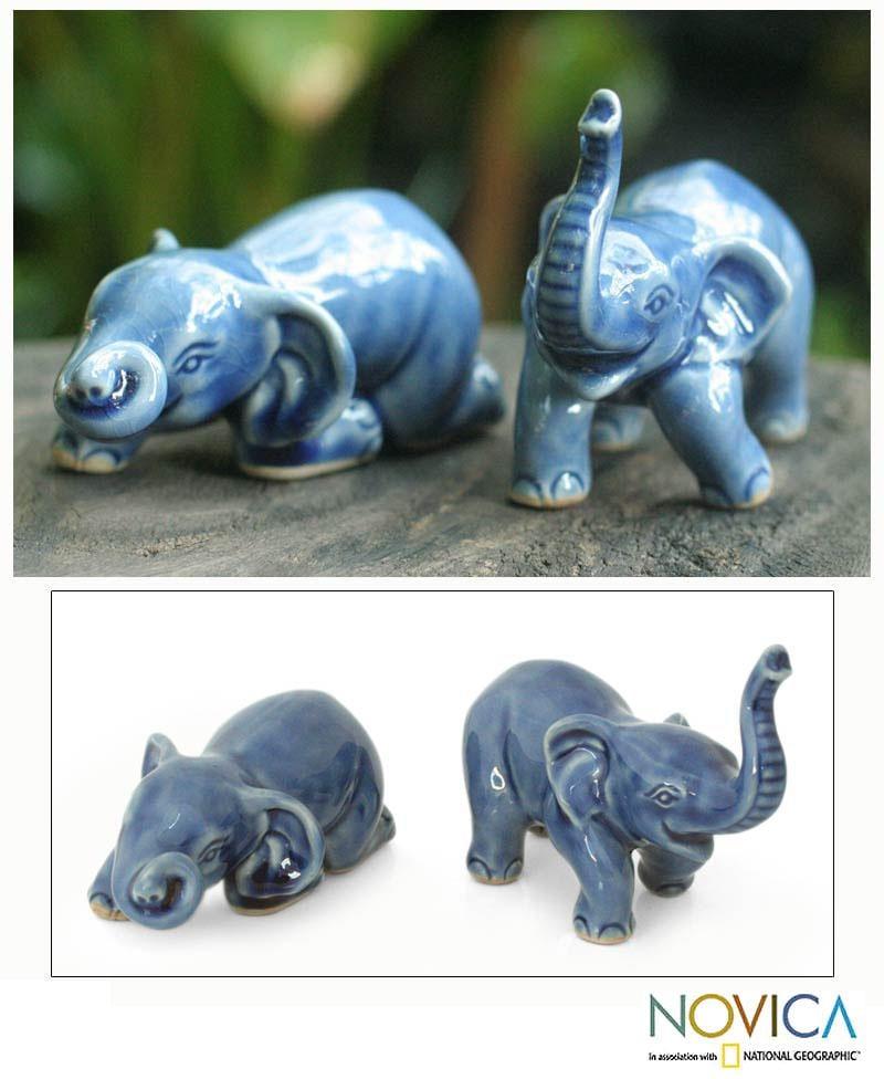 Set of 2 Ceramic 'Playful Blue Elephants' Sculptures (Thailand)