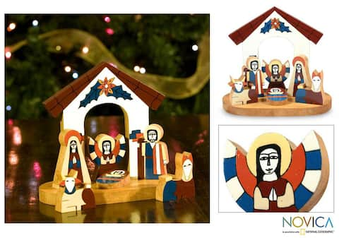 Handmade Holy Family Pinewood Nativity Scene (El Salvador)