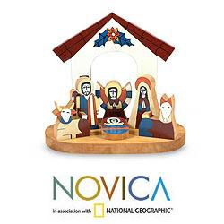 Handcrafted Pinewood 'Holy Family' Nativity Scene (El Salvador)