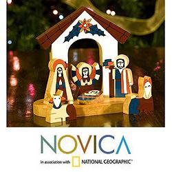 Handmade Pinewood 'Holy Family' Nativity Scene (El Salvador)