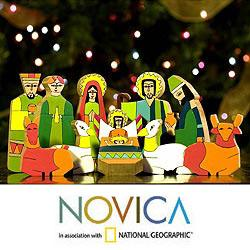 Handmade Pinewood 'God's Gift' Nativity Scene (El Salvador)