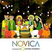 Handmade Pinewood 'God's Gift' Nativity Scene (El Salvador)