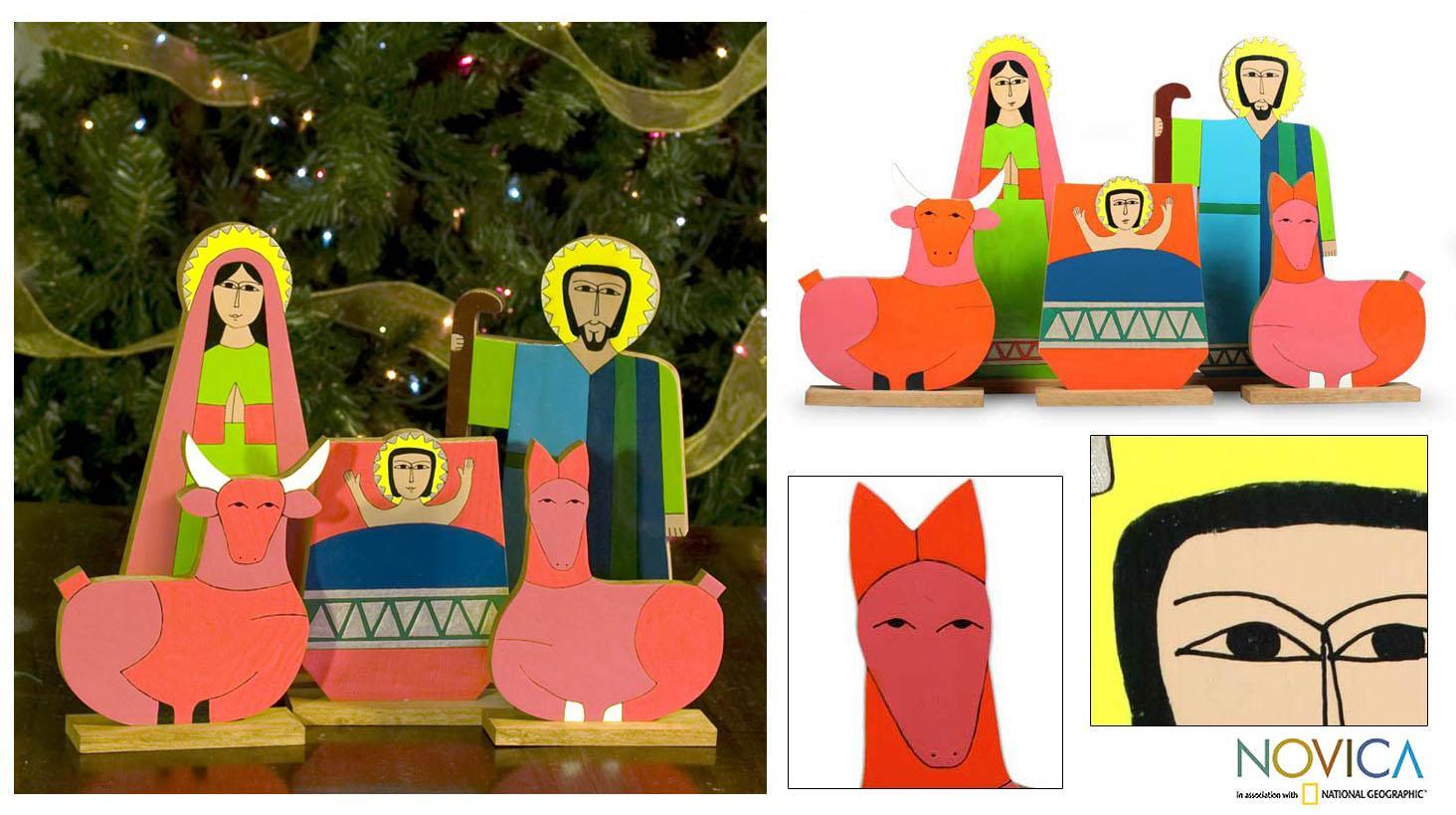 Handmade Pinewood 'Joy' Nativity Scene (El Salvador)