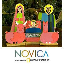 Handmade Pinewood 'Joy' Nativity Scene (El Salvador)