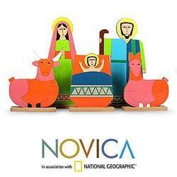 Handmade Pinewood 'Joy' Nativity Scene (El Salvador) - Thumbnail 1