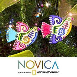 Handmade Set of 6 Pinewood 'Maya Bird' Ornaments (El Salvador)
