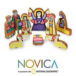Handcrafted Pinewood 'Christmas Color' Nativity Scene (El Salvador)