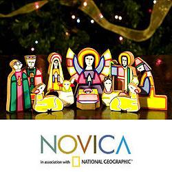 Handcrafted Pinewood 'Christmas Color' Nativity Scene (El Salvador)
