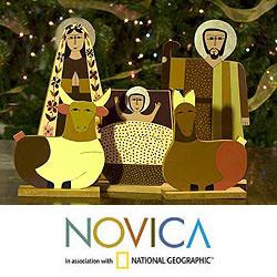 Handmade Pinewood 'Behold the Child' Nativity Scene (El Salvador)