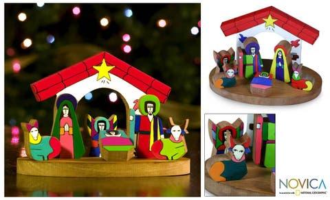 Handmade Pinewood Christmas Nativity Scene (El Salvador)
