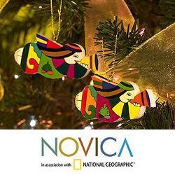 Set of 6 Pinewood 'Angel Trumpets' Ornaments (El Salvador)