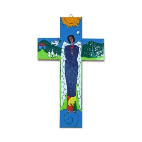 Handmade Angel of Peace Pinewood Cross (El Salvador)