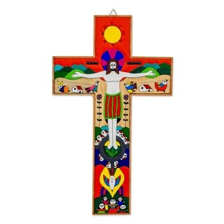 Handmade 'New Creation' Pinewood Cross (El Salvador)