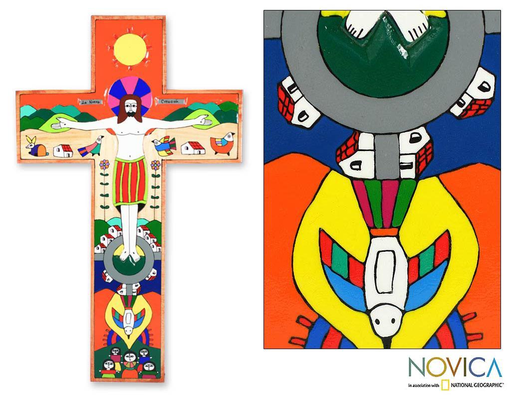 Handcrafted 'New Creation' Pinewood Cross (El Salvador)