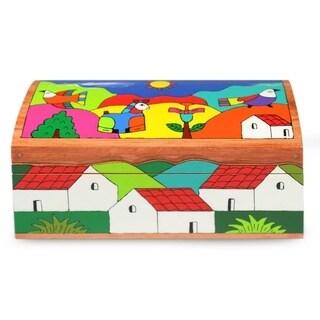 "Handmade Pinewood 'My Village' Box (El Salvador) - 7.75""x3.7"""