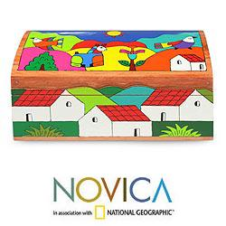 Handcrafted Pinewood 'My Village' Box (El Salvador) - Thumbnail 1