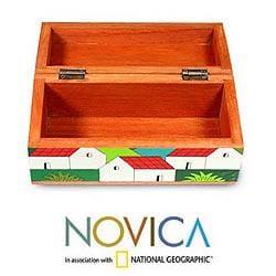 Handcrafted Pinewood 'My Village' Box (El Salvador) - Thumbnail 2