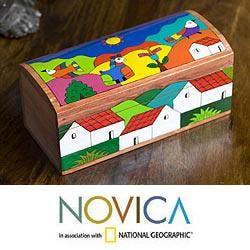 Handcrafted Pinewood 'My Village' Box (El Salvador)|https://ak1.ostkcdn.com/images/products/6296612/PCI/78/141/Handcrafted-Pinewood-My-Village-Box-El-Salvador-P78141377.jpg?impolicy=medium