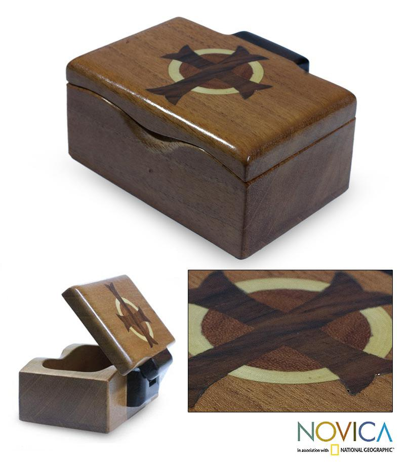 Handcrafted Mahogany Wood 'Christ's Cross' Box (Guatemala)