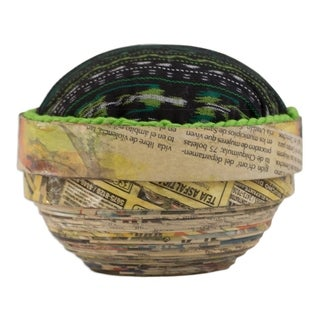 "Handmade Recycled Paper 'San Lucas Jade' Box (Guatemala) - 6.25 x 4.7"""