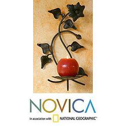 Handmade Wrought Iron 'Perfect Flower' Candleholder (Guatemala)