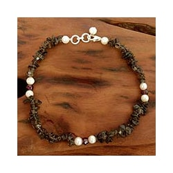 Sterling Silver 'Love Empowered' Pearl Anklet (5-5.5 mm) (India)